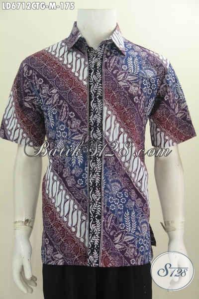 Baju Hem Batik Lengan Pendek Halus Dan Keren, Pakaian Batik Solo Terkini Proses Cap Tulis Soga Yang Istimewa Untuk Penampilan Makin Mempesona [LD6712CTG-M]