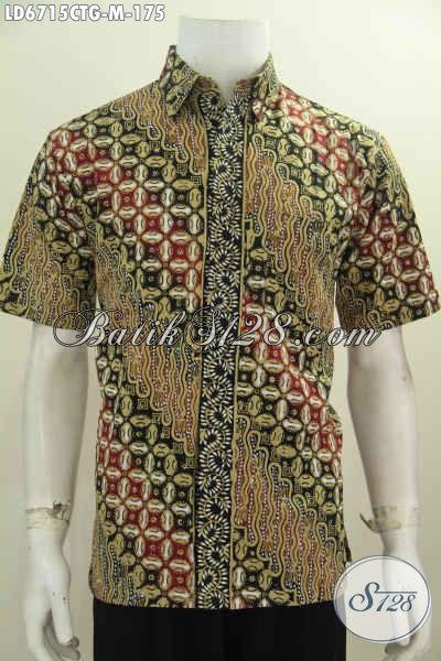 Pakaian Batik Lengan Pendek Nan Modis, Baju Batik Solo Kwalitas Bagus Harga Terjangkau Untuk Tampil Gaya Dan Kece Badai [LD6715CTG-M]