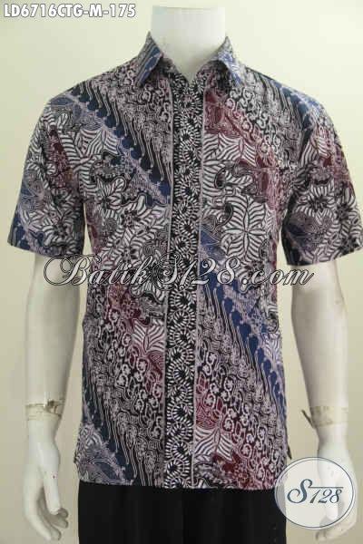 Pakaian Batik Cowok Size M, Hem Batik Lengan Pendek Keren Bahan Halus Harga 100 Ribuan, Baju Batik Cap Tulis Soga Asli Dari Solo Untuk Pria Kantoran [LD6716CTG-M]