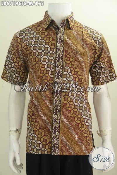 Baju Batik Warna Elegan, Pakaian Batik Lengan Pendek Halus Proses Cap Tulis Soga Kwalitas Istimewa Yang Membuat Lelaki Terlihat Mempesona [LD6719CTG-M]
