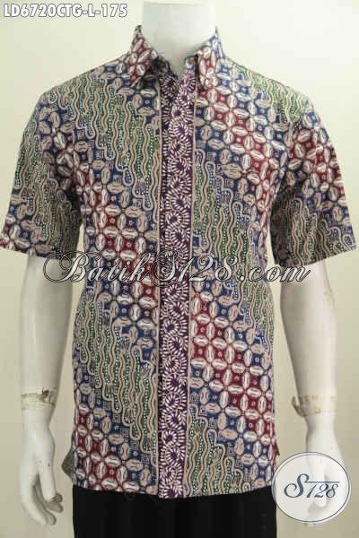 Batik Hem Halus Keren Elegan, Kemeja Batik Solo Untuk Pria Tampil Modis Dan Berwibawa Motif Bagus Proses Cap Tulis, Size L