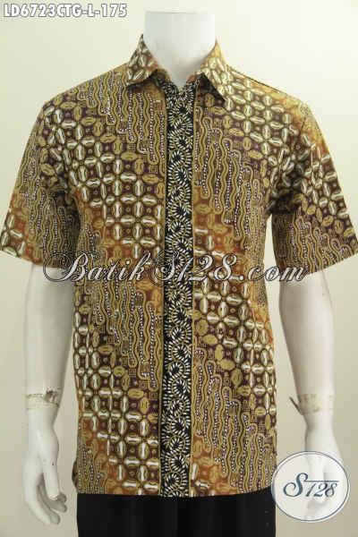 Agen Baju Batik Online, Sedia Hem Lengan Pendek Desain Trendy Motif Nuansa Klasik Bahan Halus Proses Cap Tulis Soga Untuk Penampilan Makin Gagah [LD6723CTG-L]