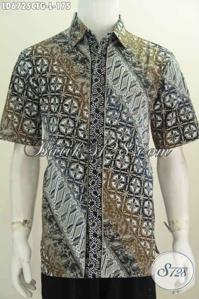 Produk Hem Batik Modern Motif Elegan Di Jual Online 175K, Baju Batik Istimewa Buatan Solo Model Lengan Pendek Pas Buat Ke kantor Dan Hangout, Size L