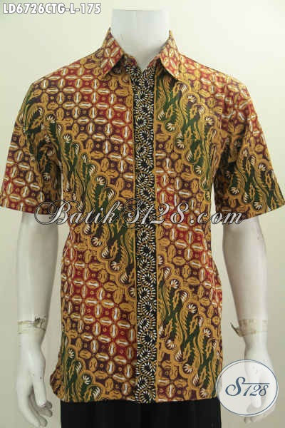 Baju Batik Fashion Buatan Solo, Kemeja Batik Pria Lengan Pendek Motif Bagus Proses Cap Tulis Soga Untuk Penampilan Lebih Istimewa, Size L