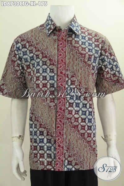 Kemeja Batik Lengan Pendek Pria Dewasa, Baju Batik Halus Motif Mewah Proses Cap Tulis Soga Untuk Tampil Modis Dan Istimewa, Size XL