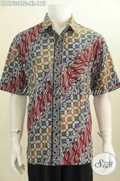 Hem Batik Keren, Baju Batik Elegan Model Lengan Pendek Motif Mewah Cap Tulis Soga, Size XL