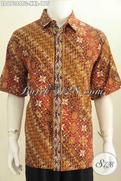 Toko Batik Online, Jual Kemeja Lengan Pendek 3L Bahan Adem Motif Bagus Proses Cap Tulis Soga Untuk Pria Gemuk Terlihat Gagah [LD6738CTG-XXL]