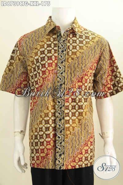 Hem Batik Jumbo, Busana Batik Nan Modis, Pakaian Batik Elegan Halus Lengan Pendek Motif Klasik Cap Tulis Soga 175 Ribua