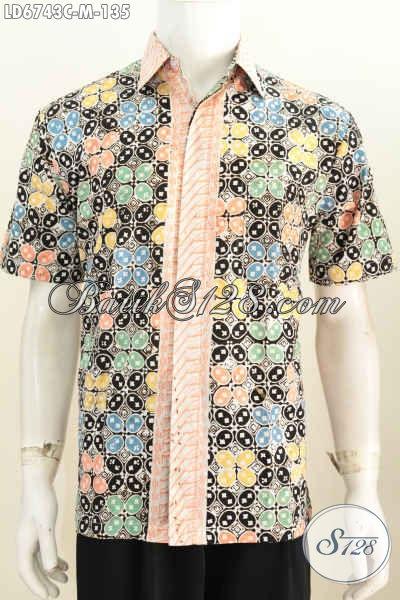 Kemeja Batik Lengan Pendek Halus Motif Keren, Baju Batik Trendy Buat Anak Muda Proses Cap Tampil Lebih Gaya [LD6743C-M]