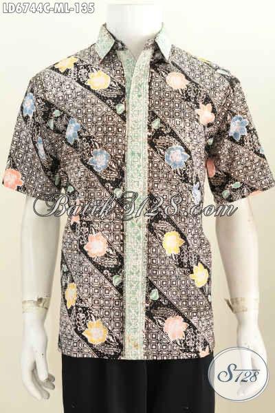 Jual Online Kemeja Batik Keren Untuk Pria Muda, Busana Batik Halus Buatan Solo Proses Cap Tampil Modis Dan Mempesona [LD6744C-M]