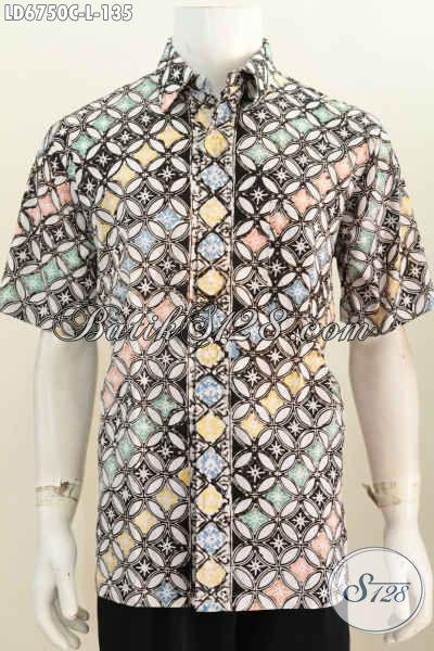 Batik Hem Lengan Pendek Halus Desain Trendy Berbahan Adem Motif Istimewa Proses Cap Harga 135, Bikin Pria Tampil Gaya Dan Gagah [LD6750C-L]