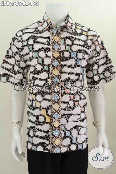 Online Shop Busana Batik Paling Up To Date, Sedia Kemeja Halus Lengan Pendek Motif Elegan Warna Trendy Proses Cap Ukuran XL
