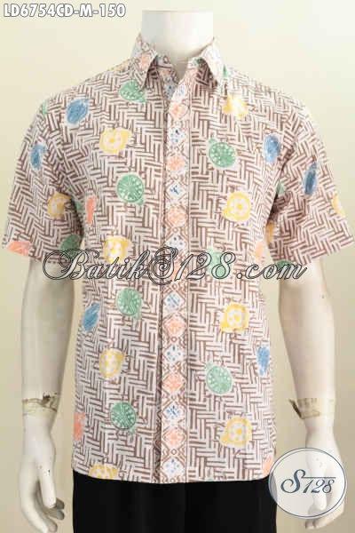 Baju Batik Hem Warna Pastel, Kemeja Batik Modern Motif Unik Dan Keren Proses Cap Bledak Model Lengan Pendek Tidak Pakai Furing [LD6754CD-M]