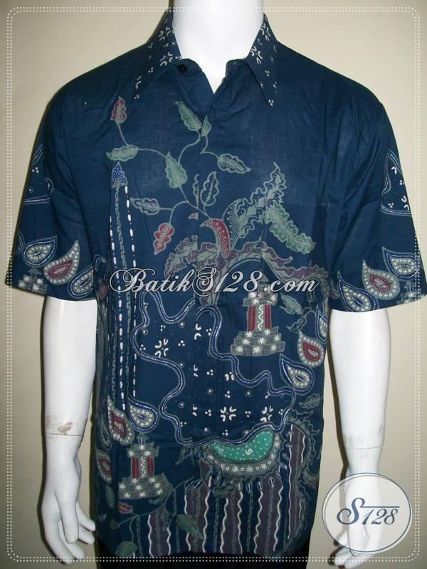 Batik Tuli Pria Halus Warna Biru, Asli Batik Solo, Corak Modern Kontemporer [LD675T-XL]