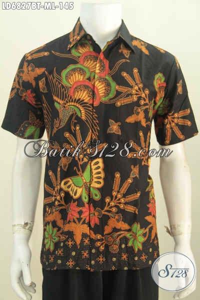 Baju Batik Dasar Hitam Motif Bagus Proses Kombinasi Tulis, Kemeja Batik Pria Terkini Untuk Acara Formal Dan Santai Tampil Elegan [LD6827BT-M]