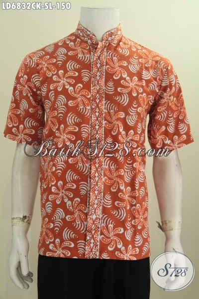 Baju Batik Kerah Shanghai Lengan Pendek Motif Unik, Kemeja Batik Halus Proses Cap Untuk Gaul Tampil Lebih Gaya [LD6832CK-S , L]