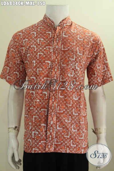 Sedia Hem Batik Lengan Pendek Model Kerah Shanghai, Baju Batik Solo Terbaru Untuk Santai Dan Formal Tampil Lebih Istimewa [LD6834CK-M]