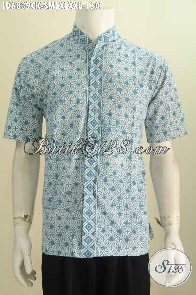 Jual Kemeja Batik Lengan Pendek Model Kerah Shanghai, Busna Batik Halus Proses Cap Untuk Lelaki Tampil Gagah Dan Tampan Maksimal [LD6839CK-L]