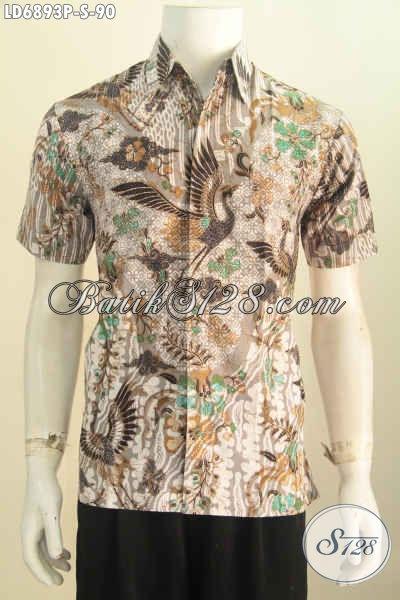 Hem Batik Halus Lengan Pendek, Baju Batik Keren Motif Trendy Proses Printing Pas Banget Buat Seragam Kerja [LD6893P-S]