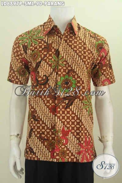 Hem Batik Parang Kombinasi Bunga, Baju Batik Printing Lengan Pendek Untuk Kerja Dan Kondangan [LD6897P-L]