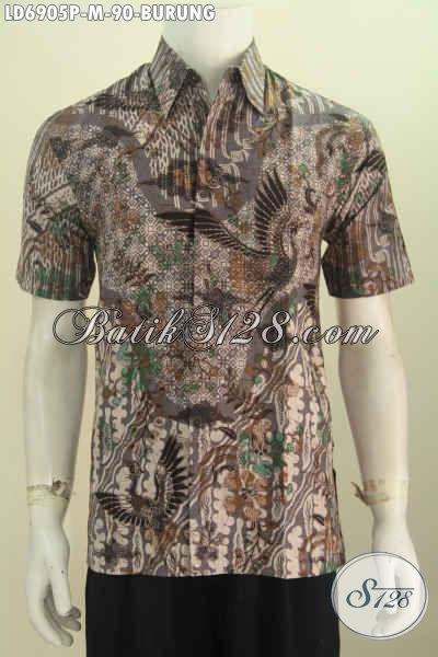 Baju Batik Elegan Nan Modis, Pakaian Batik Berkelas Proses Printing Motif Burung, Modis Untuk Santai Elegan Buat Kerja [LD6905P-M]