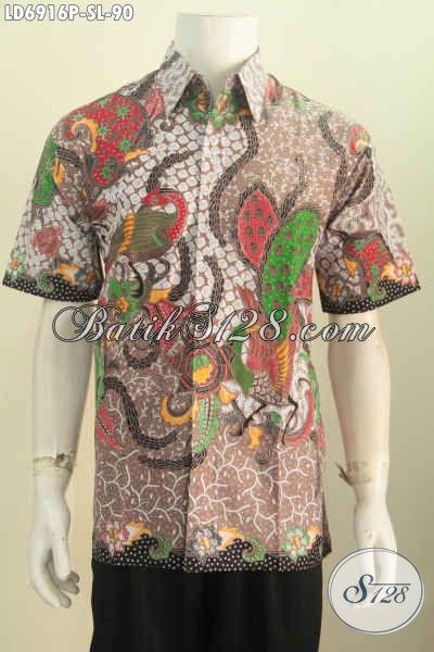 Hem Batik Keren Dan Mewah Motif Bagus, Pakaian Batik Pria Model Lengan Pendek Non Furing Proses Printing Untuk Terlihat Makin Ganteng [LD6916P-S]