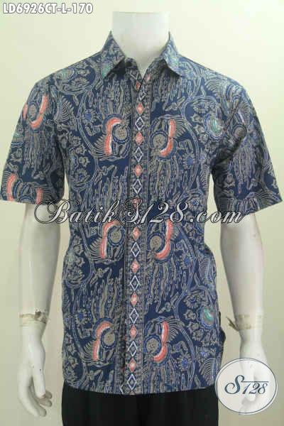 Sedia Baju Kerja Batik Warna Biru Motif Bagus Dan Mewah Proses Cap Tulis Harga 170K Size L Model Lengan Pendek [LD6926CT-L]