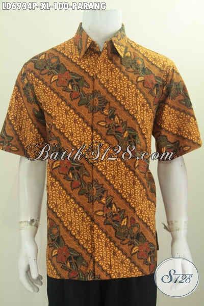 Hem Batik Printing Parang Bunga Ukuran XL, Kemeja Kerja Nan Elegan Bahan Adem Bautan Solo, Modis Juga Untuk Kondangan [LD6934P-XL]