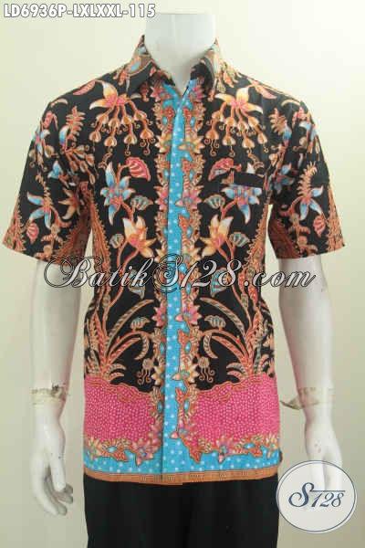 Hem Batik Printing Keren Motif Terbaru Harga 115K, Pakaian Batik Lengan Pendek Proses Printing Untuk Penampilan Lebih Trendy Dan Mempesona [LD6936P-L]