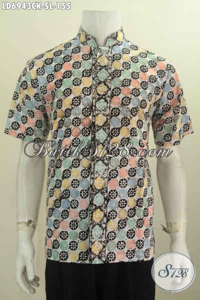 Baju Batik Muslim Terkini, Hem Batik Keren Model Kerah Shanghai Kwalitas Halus Motif Trendy Proses Cap Untuk Tampil Gaul [LD6943CK-L]