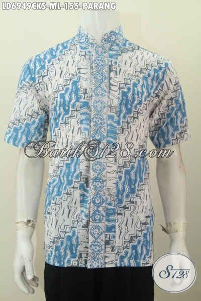 Baju Batik Koko Lengan Pendek, Hem Batik Trendy Motif Parang Proses Cap Pakai Saku Kanan Kiri, Tampil Lebih Modis, Size M – L