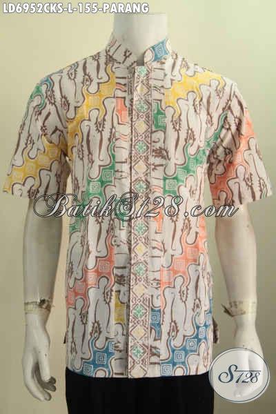 Sedia Baju Batik Trendy Dan Keren, Hem Batik Solo Berkelas Khas Jawa Tengah, Pakaian Batik Koko Proses Cap Untuk Tampil Stylish [LD6952CKS-L]