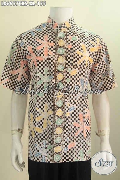 Hem Batik Modis Kerah Shanghai, Pakaian Batik Lengan Pendek Keren Motif Unik Proses Cap Untuk Kerja Dan Hangout, Size XL
