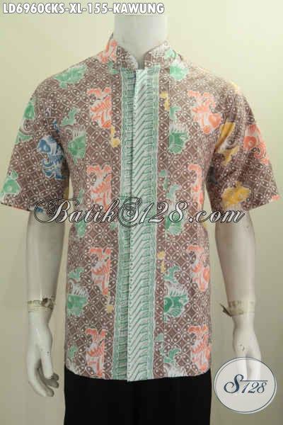 Baju Batik Halus Motif Mewah, Kemeja Batik Solo Model Kerah Shanghai Bias Buat Santai Dan Formal [LD6960CKS-XL]