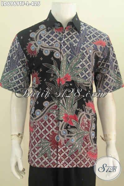 Hem Batik Kwalitas Premium, Hadir Dengan Motif Mewah Proses Tulis Model Lengan Pendek Pake Furing Untuk Kerja Dan Rapat [LD6969TF-L]