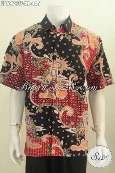 Batik Hem Keren Dan Elegan, Baju Batik Halus Proses Tulis Model Lengan Pendek Pakai Furing 400 Ribuan, Size XL