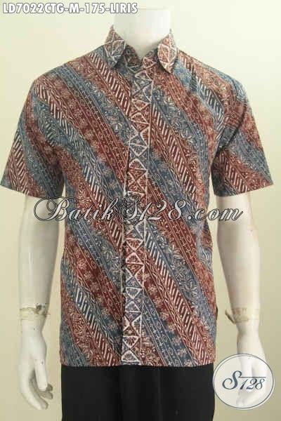 Hem Batik Elegan Untuk Baju Kerja, Busana Batik Modis Untuk Hangout, Berbahan Halus Model Lengan Pendek Motif Liris Proses Cap Tulis Gradasi [LD7022CTG-M]