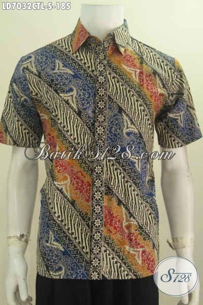 Kemeja Batik Lengan Pendek Halus Motif Klasik Warna Mewah Cap Tulis Lasem, Pakaian Batik Istimewa Buat Pria Tampil Lebih Sempurna [LD7032CTL-S]