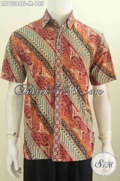 Kemeja Batik Solo Model Terbaru, Pakaian Batik Pria Muda Lengan Pendek Halus Motif Mewah Cap Tulis Lasem, Pas Buat Santai Dan Resmi [LD7038CTL-M]