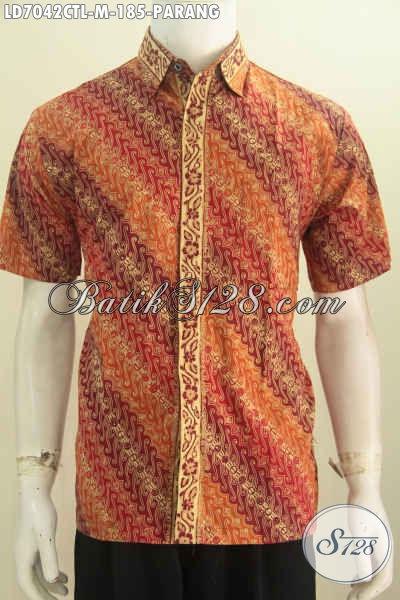 Sedia Hem Elegan Motif Parang, Pakaian Batik Halus Proses Cap Tulis Soga Warna Mewah Harga Terjangkau Tampil Mempesona [LD7042CTL-M]