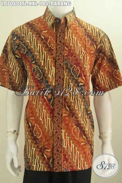 Kemeja Batik Parang Klasik Dengan Sentuhan Modern, Baju Batik Lengan Pendek Spesial Untuk Pria Gemuk Harga 185K [LD7060CTL-XXL]