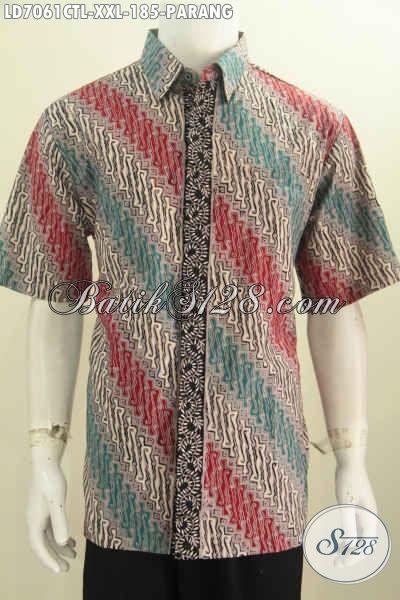 Kemeja Batik Parang 3L Halus Dengan Kombinasi Warna Trendy Asli Buatan Solo Proses Cap Tulis Lasem Pas Buat Lelaki Dewasa [LD7061CTL-XXL]