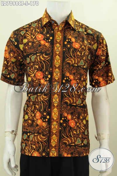 Hem Lengan Pendek Pria, Baju Batik Modis Desain Trendy Motif Mewah Proses Cap Tulis, Bikin Cowok Ganteng Maksimal [LD7098CT-S]