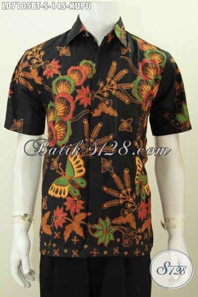 Hem Batik Dasar Hitam Motif Kupu, Kemeja Batik Kombinasi Tulis Buatan Solo Harga 145K Model Lengan Pendek [LD7105BT-S]