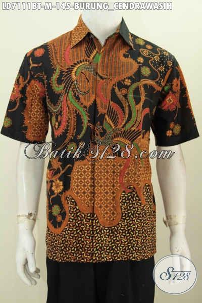 Hem Batik Halus Lengan Pendek Keren Dengan Motif Burung Cendrawasih, Pakaian Batik Pria Muda Proses Kombinasi Tulis, Cocok Buat Hangout [LD7111BT-M]