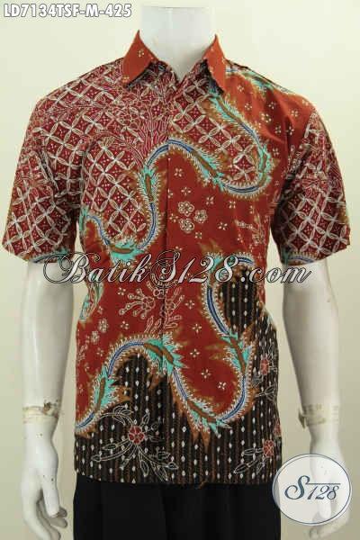 Hem Batik Premium Lengan Pendek Motif Kekinian, Pakaian Batik Halus Full Furing Tampil Lebih Percaya Diri, Size M
