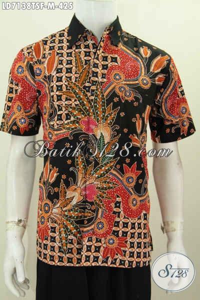 Kemeja Lengan Pendek Mewah, Baju Kerja Busana Batik Premium Motif Bagus Proses Tulis Soga Daleman Full Furing Pria Tampil Makin Percaya Diri [LD7138TSF-M]