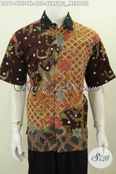 Kemeja Batik Tulis Soga Motif Burung Merpati, Pakaian Batik Halus Lengan Pendek Pake Furing Harga 425K, Size XL