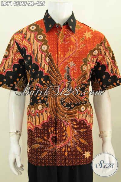 Jual Online Kemeja Batik Lengan Pendek Mewah, Baju Batik Istimewa Khas Jawa Tengah, Produk Pakaian Batik Motif Bagus Tulis Soga Harga 425K Daleman Full Furing [LD7145TSF-XL]