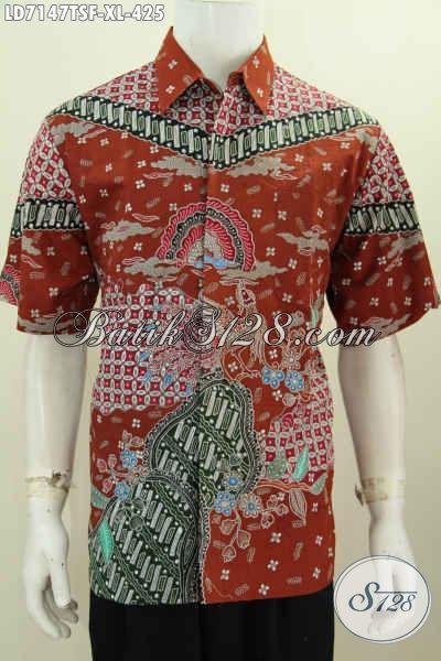 Baju Hem Lengan Pendek Mewah, Busana Batik Halus Motif Bagus Full Furing Khas Jawa Tengah Proses Tulis Soga Untuk Pria Dewasa Tampil Berwibawa Dan Elegan [LD7147TSF-XL]